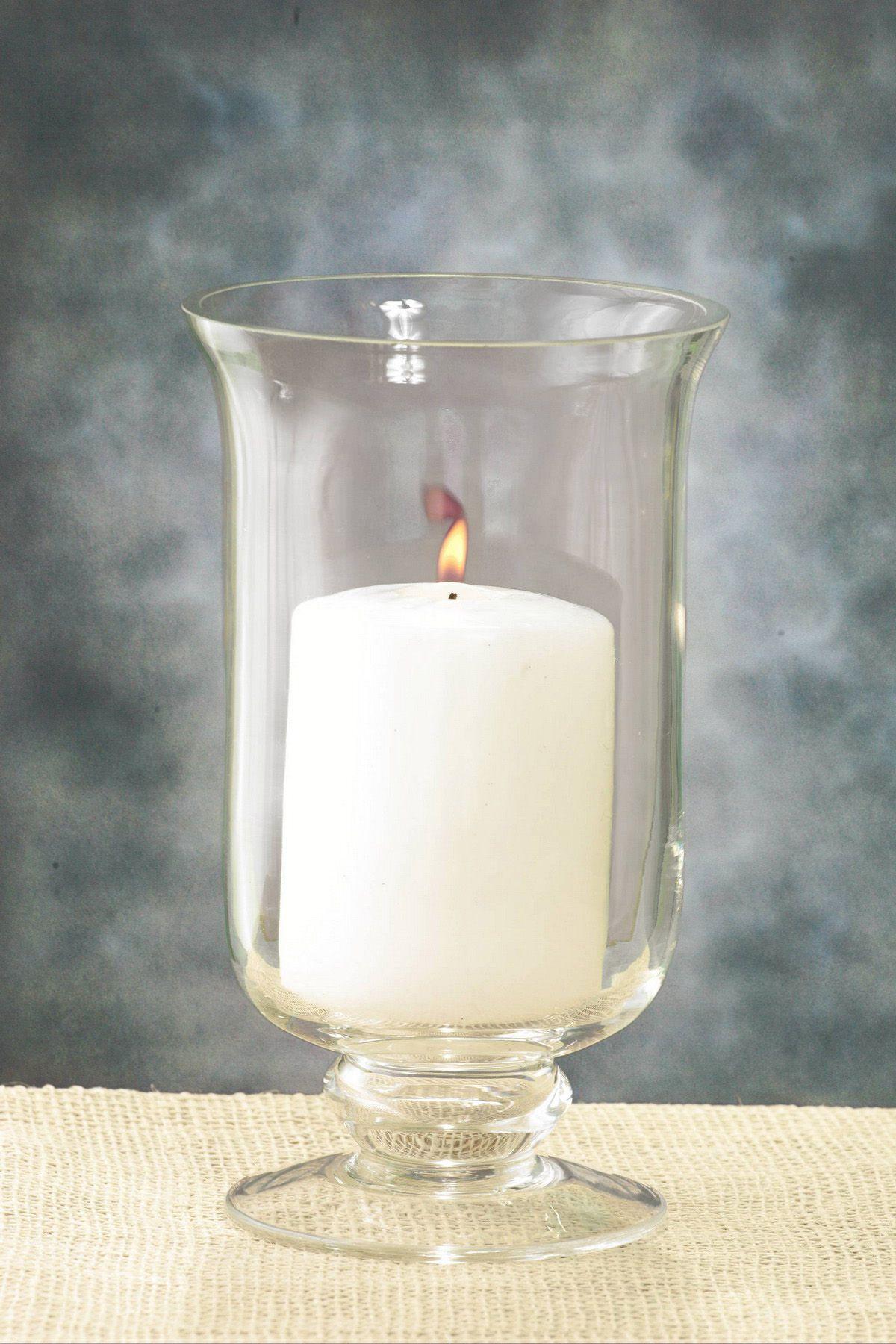 Glass hurricane vase   Hurricane candle holders, Hurricane vase and ...