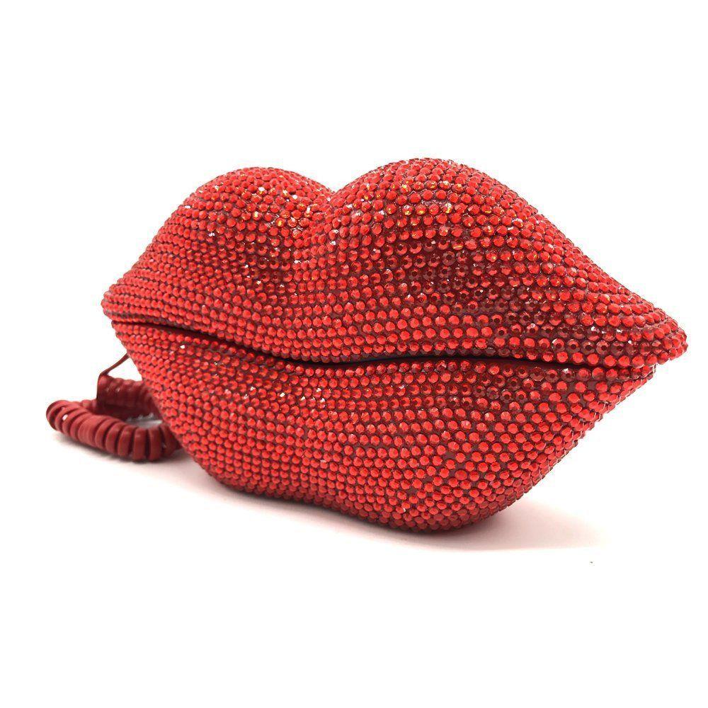 Jeweled Red Rhinestone Lips Telephone Red Rhinestone Lips Red