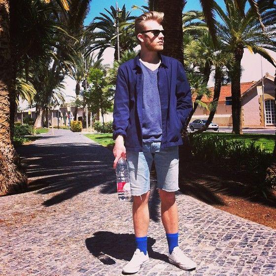 Topman T Shirt, Cos Shirt, Levi's Denim Shorts, Converse, Cos Socks