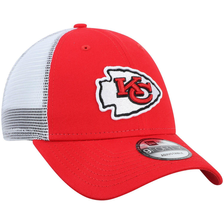 Men S New Era Red White Kansas City Chiefs Team Trucker 9forty Adjustable Snapback Hat Affiliate White Kansas City Men New Era Best Caps Snapback Hats