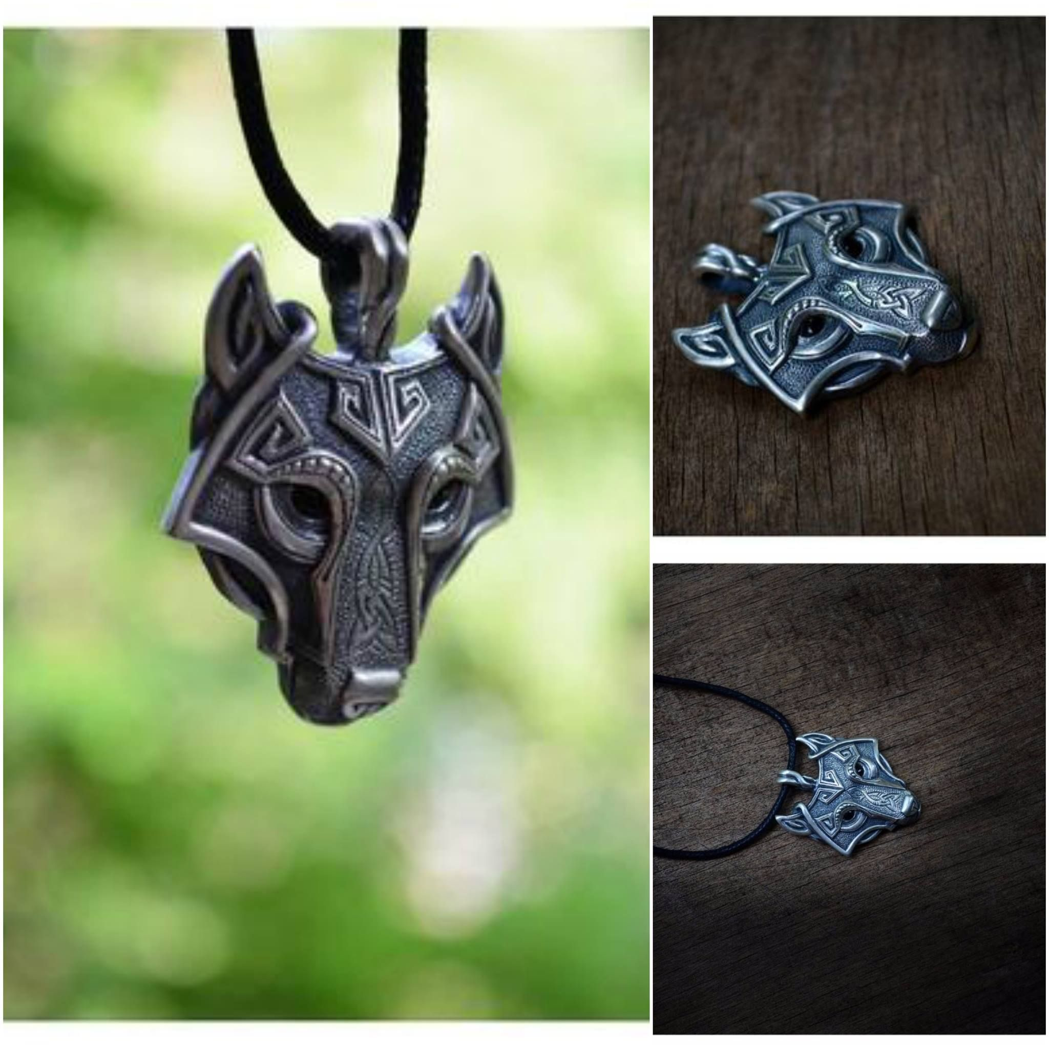 necklace wolf head pendant silver jewelry art fox