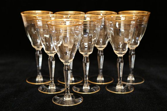 cdbde6d3f29 Gold Rim Crystal Water Glasses