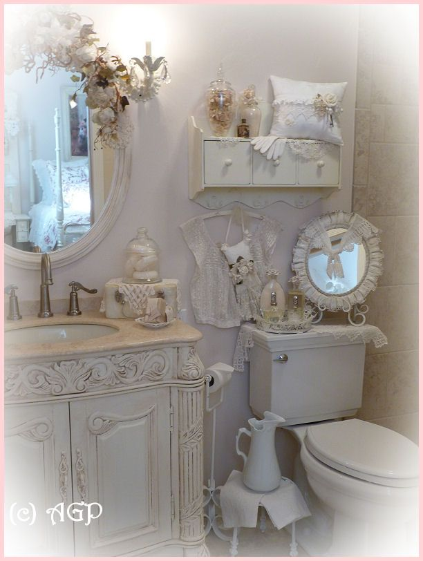 Shabby Cottage Chic Shelf And More Bathroom Makeover Pics For