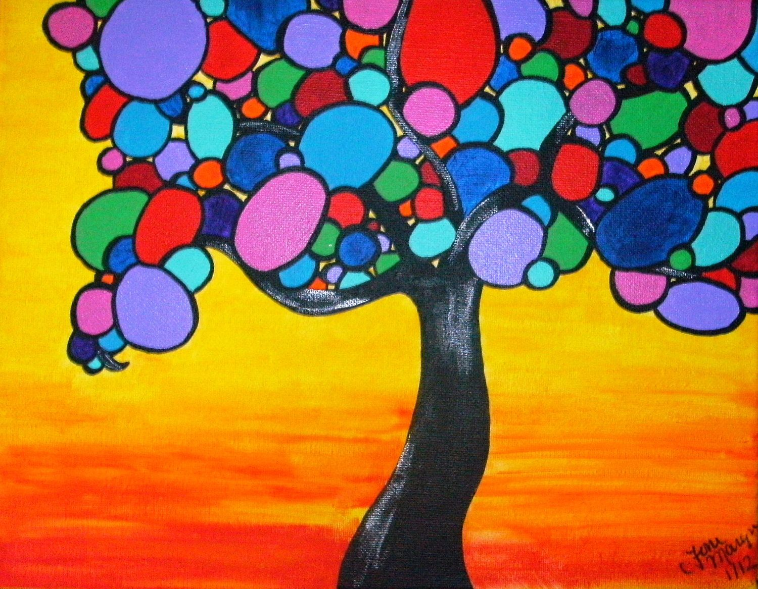 Colorful Tree Painting with Bright Circles 11x14 Original Acrylic ...