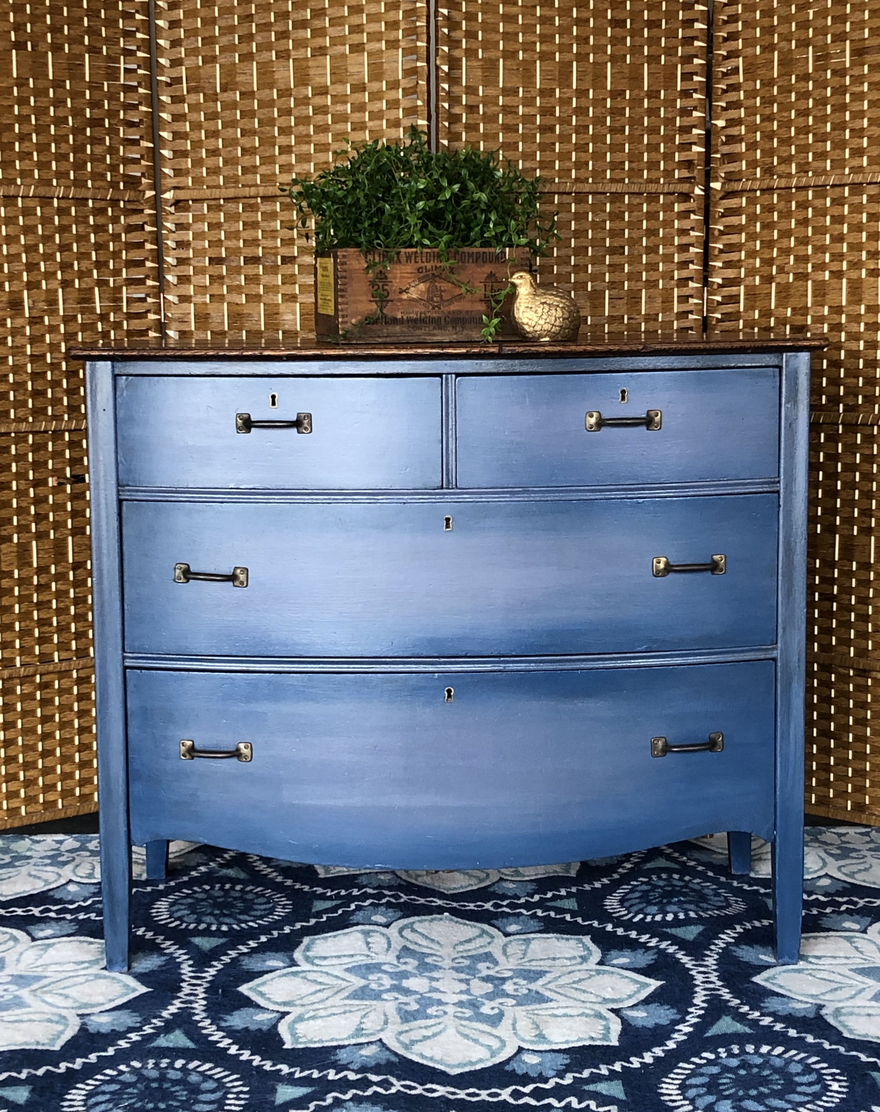 Vintage bow front dresser with blended gray and iris blue ...