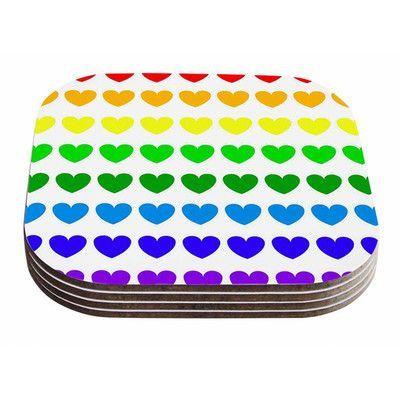 KESS InHouse Rainbow Hearts by NL Designs Coaster