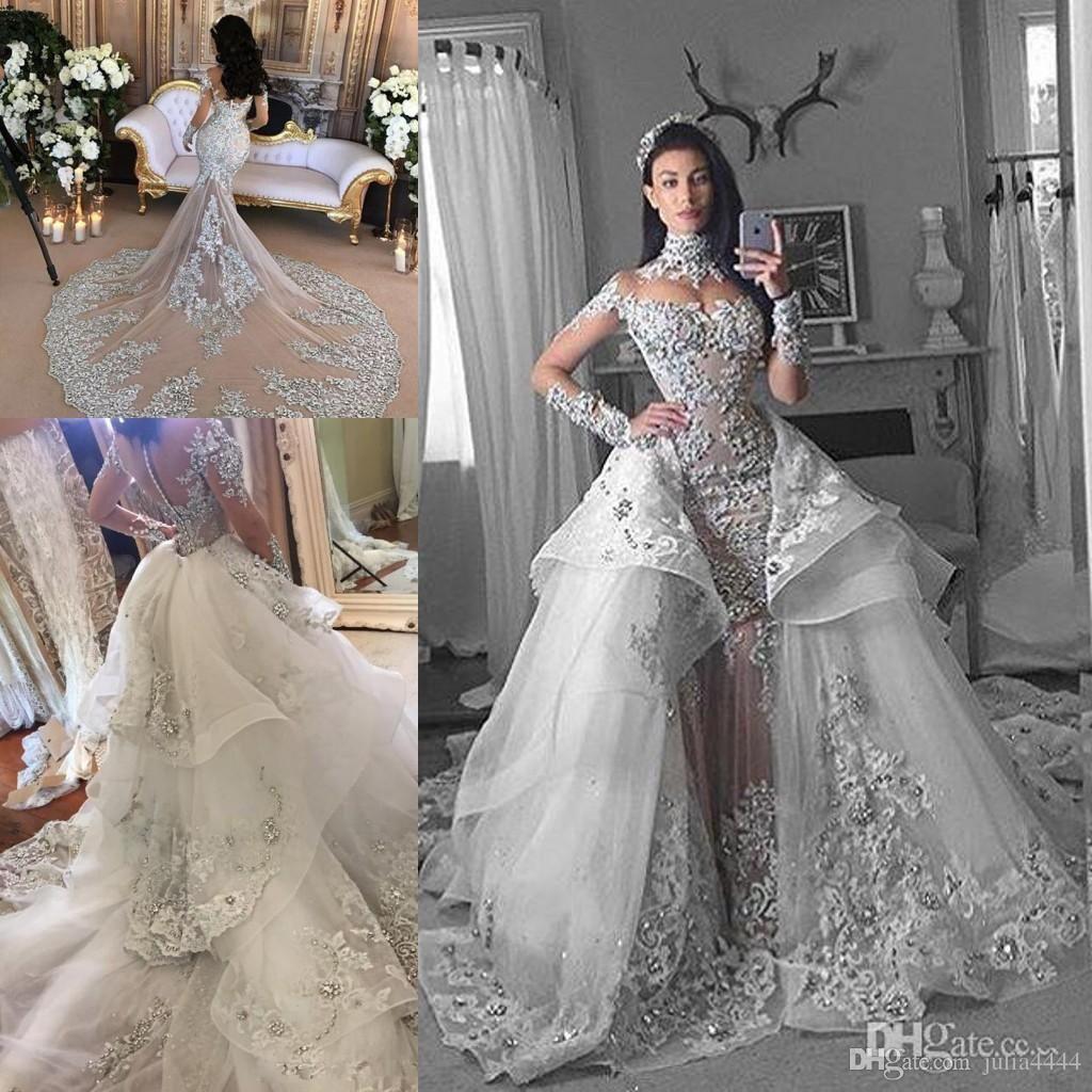 Spaekly Crystal Mermaid Wedding Dresses With Detachable
