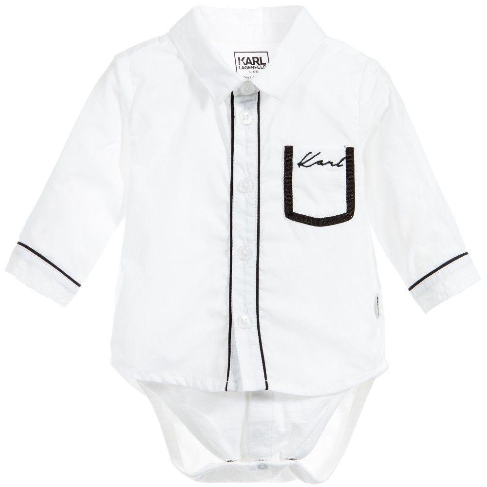 31bf81b20 Karl Lagerfeld Baby Boys White Shirt-Bodysuit | Holiday Outfits ...