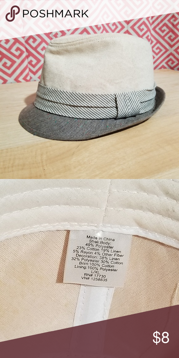 405b3c5dc512b Poly cotton linen light spring summer Fedora Light colored two 3 tone Fedora.  Labeled as L /XL Accessories Hats