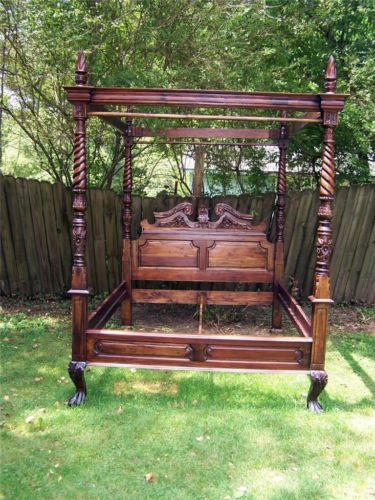 Vtg Large Solid Mahogany Hand Carved Queen Size Canopy Poster Bed