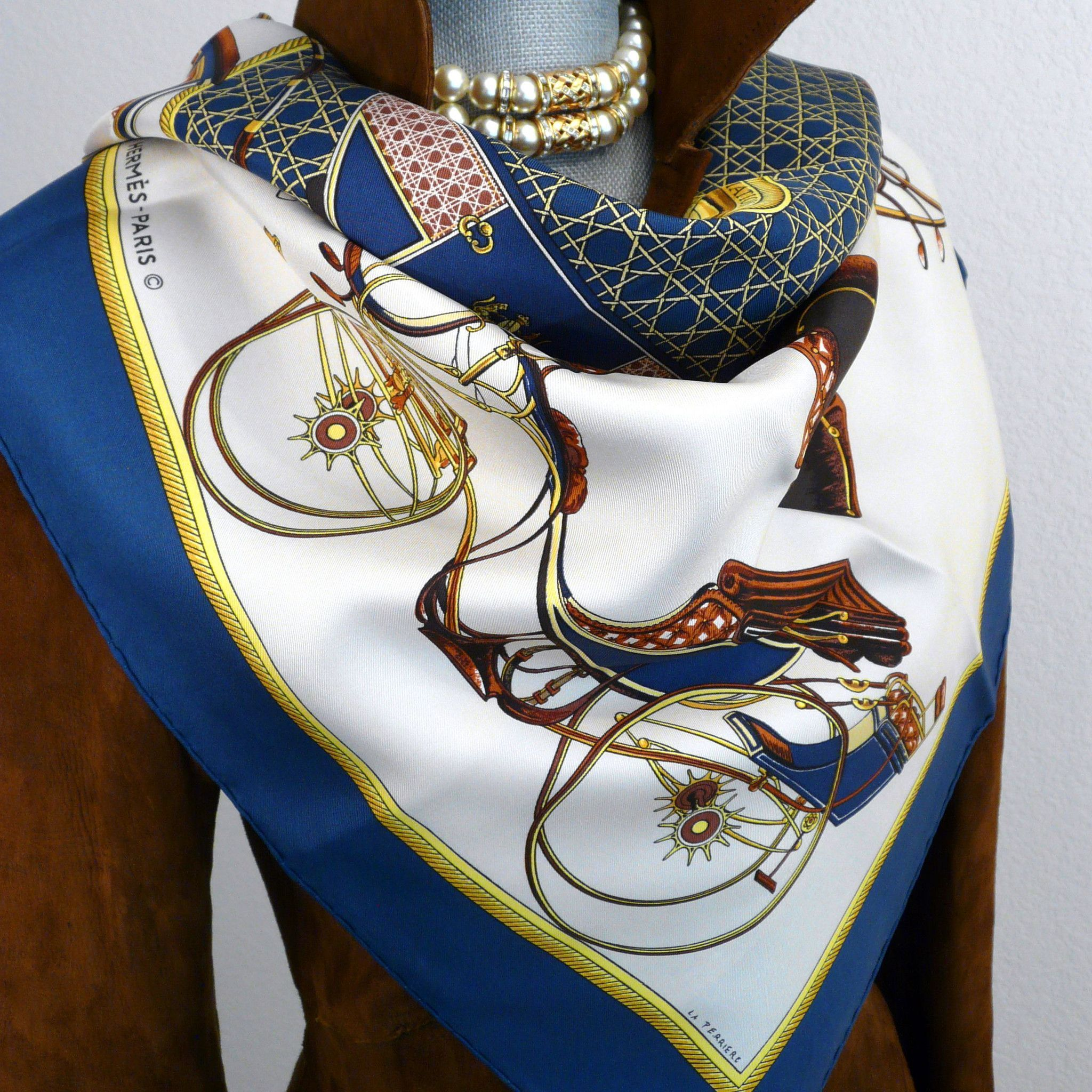Authentic Vintage Hermes Silk Scarf Les Voitures a Transformation Blues