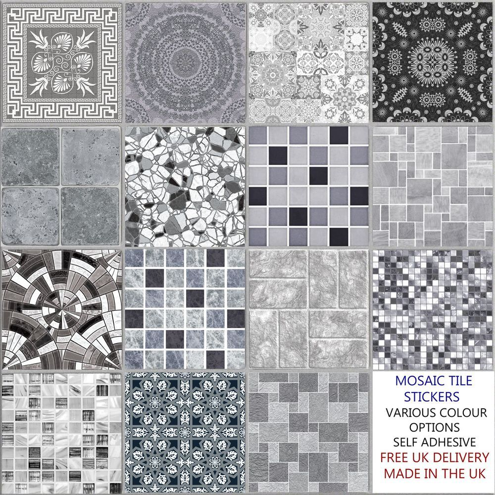Grey Mosaic Tile Stickers Transfers Kitchen Bathroom 6 Inch Various Designs Mosaic Tile Stickers Grey Mosaic Tiles Mosaic Tiles