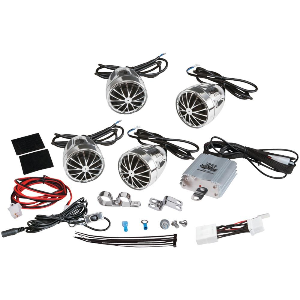 hight resolution of pyle pro 800 watt mounted motorcycle and atv and snowmobile amp with dual handlebar 200w x 4 micro amp with wire harness quad chrome 2 25 bullet style