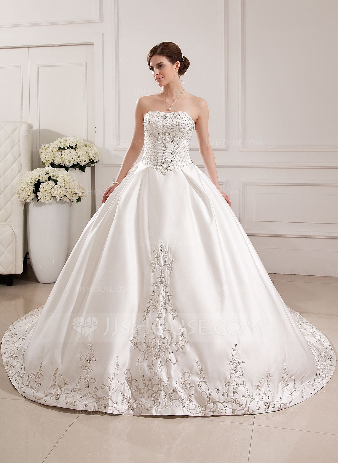 Ballgown sweetheart cathedral train satin wedding dress with