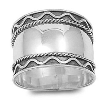 Sterling-Silver-925-Bali-Wavy-and-Twisted-Edge-Wide-Ring-Size-10