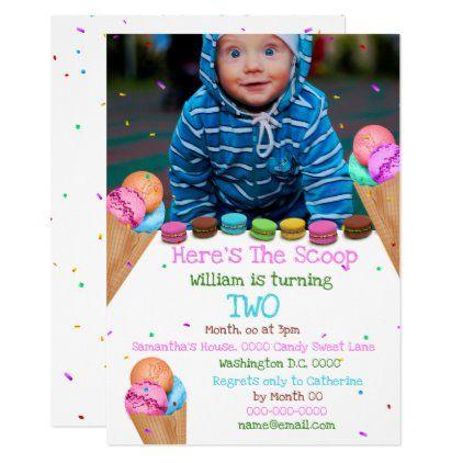 Candy ice cream photo ANY AGE birthday party Invitation | Zazzle.com #icecreambirthdayparty
