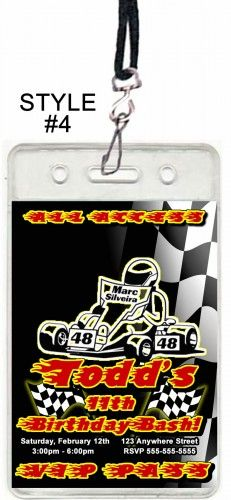 Go Kart Racing Set of 12 VIP Party Invitation Passes or Party Favors