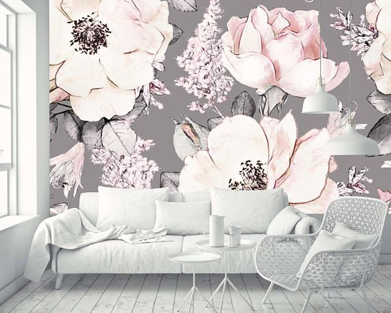 Removable Wallpaper Mural Peel Stick Watercolor Seamless Pattern With Pink Flowers And Leaves On Gray Background Floral Wallpaper Bedroom Mural Wallpaper Wallpaper Bedroom