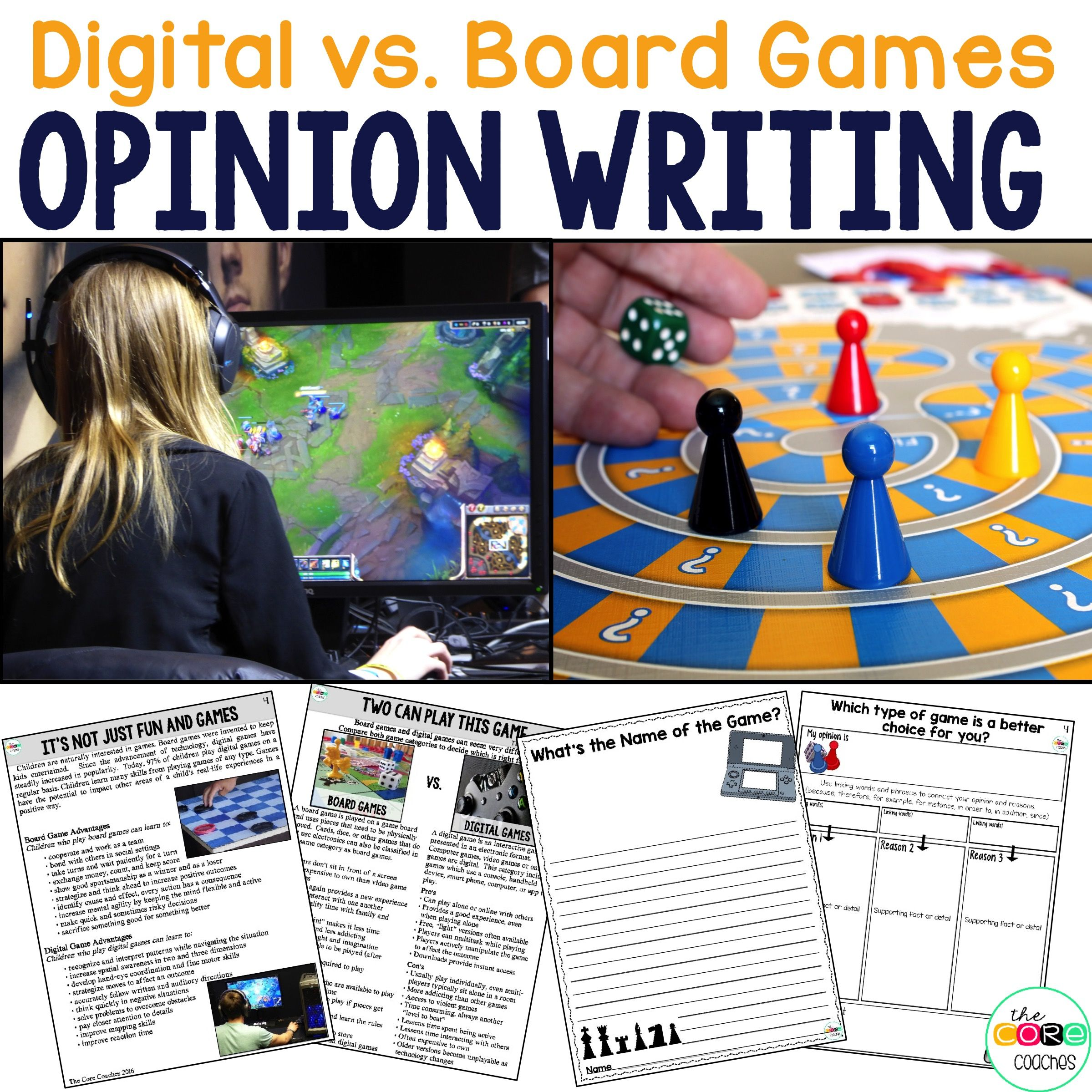 Video V Board Game Print Or Digital Paired Text Passage Distance Learning Opinion Essay Writing Essays Best Violence
