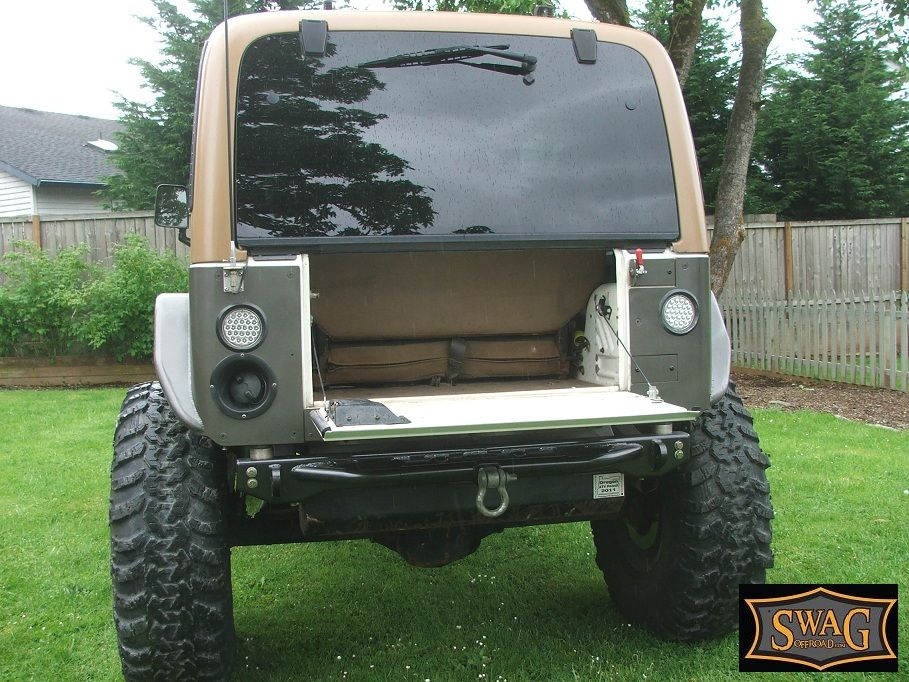 Swag Jeep Wrangler Aluminum Drop Down Tailgate Conversion Kit Jeep Jeep Yj Diy Jeep
