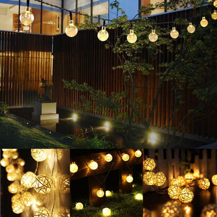 3.85 GBP - 30 Led Solar String Light Warm White Crystal Ball Globe ...