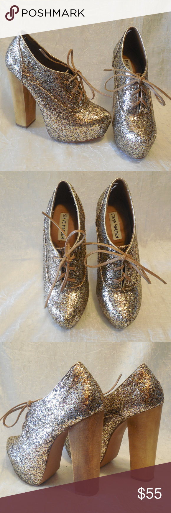 f9eb2212328 Steve Madden Cirkus Glitter Lace Up Booties Heels Gold glitter lace ...