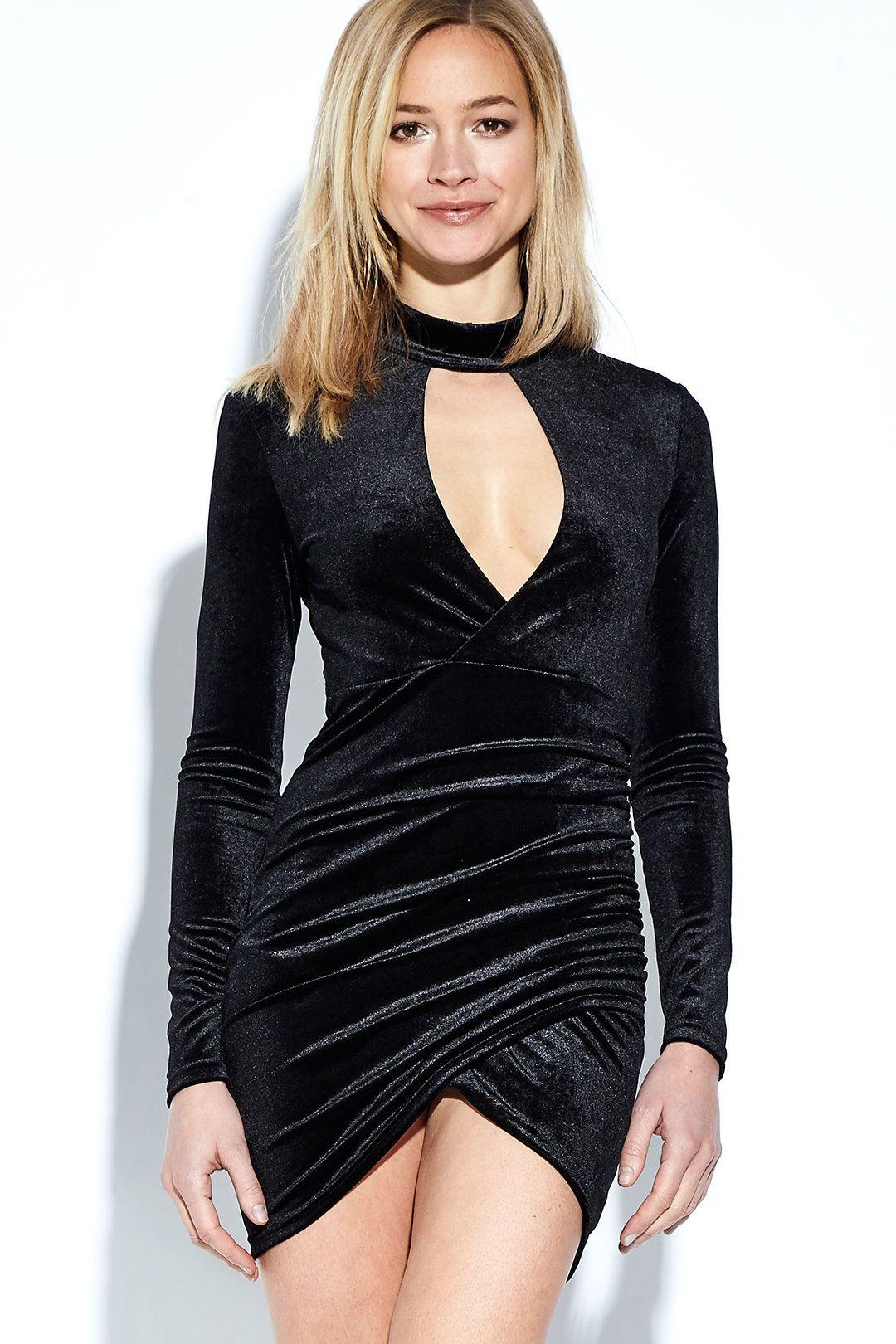 Black velvet long sleeves wrap front hollow mini dress dresses