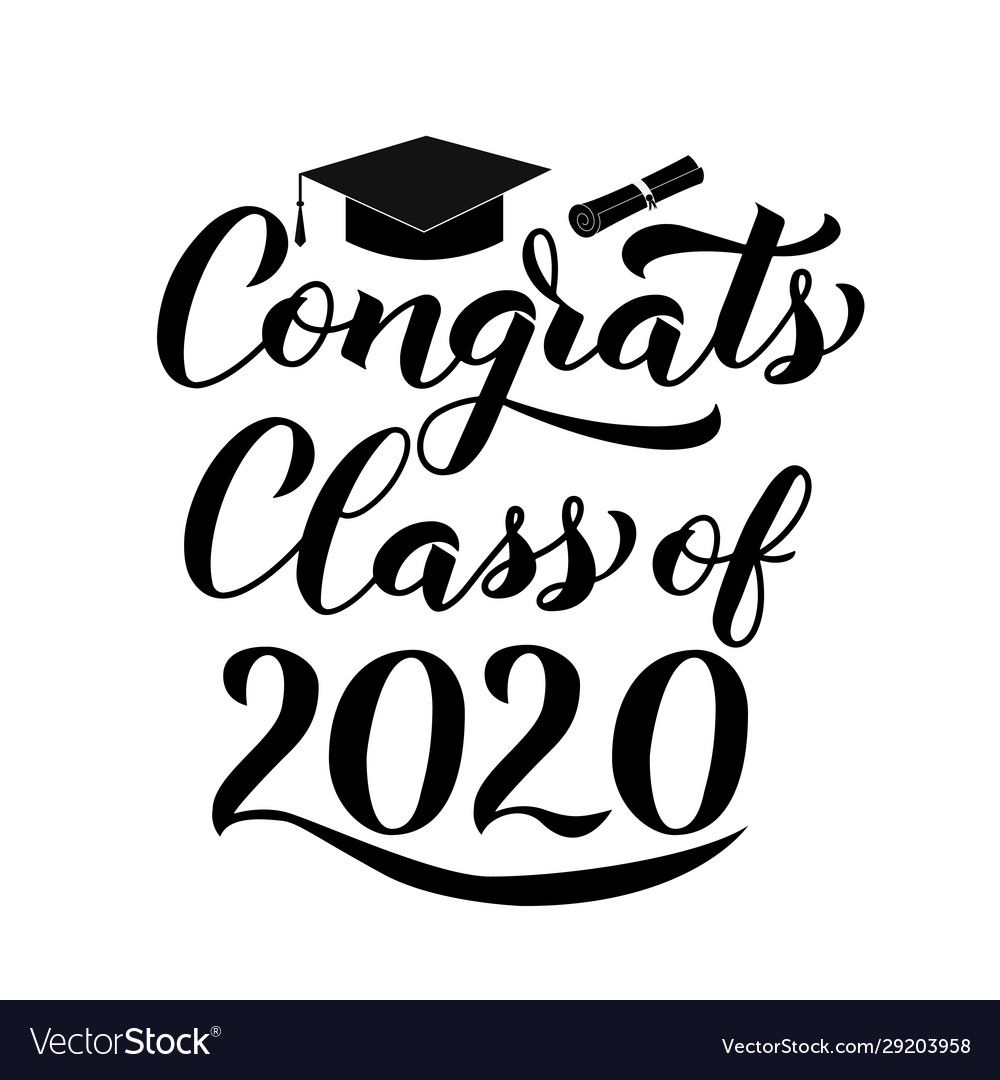 Congrats class 2020 lettering with graduation vector image