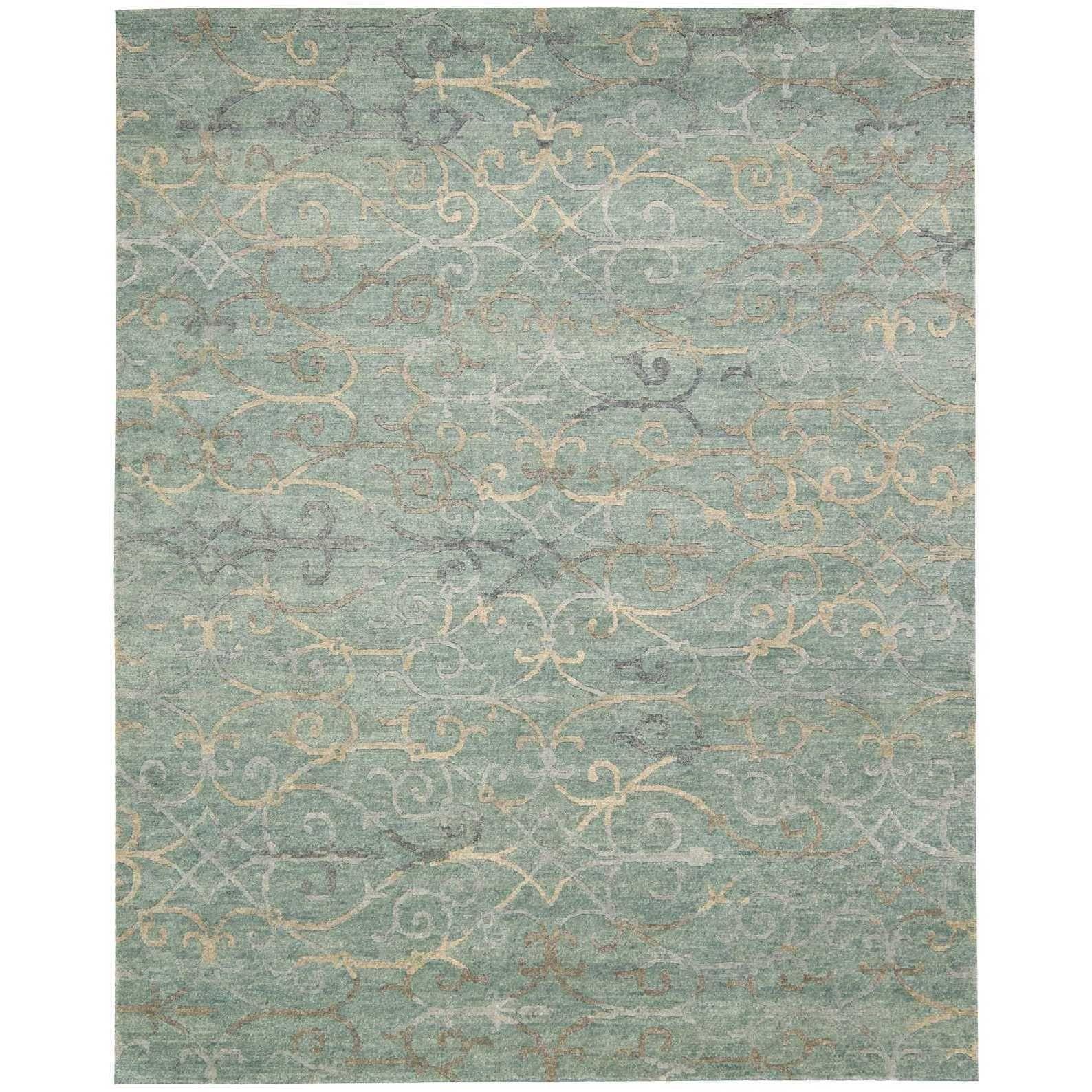 Nourison Tahoe Modern Seagl Rug X Blue Wool Abstract
