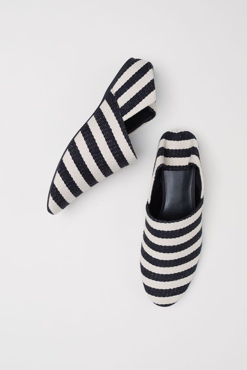 Wedge-heeled Mules | Black/white