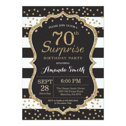 Surprise 70th Birthday Invitation Gold Glitter Invitation Zazzle Com 60th Birthday Invitations 80th Birthday Invitations 70th Birthday Invitations