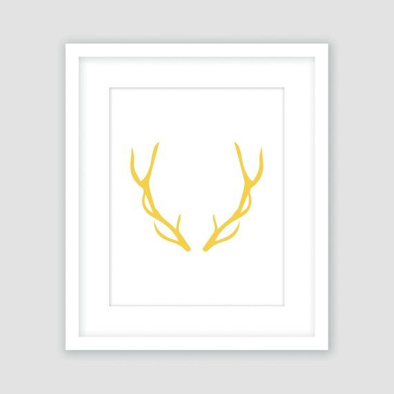 photo about Printable Deer Antlers titled Deer Antlers, Mustard Yellow and White Print, Wall Artwork
