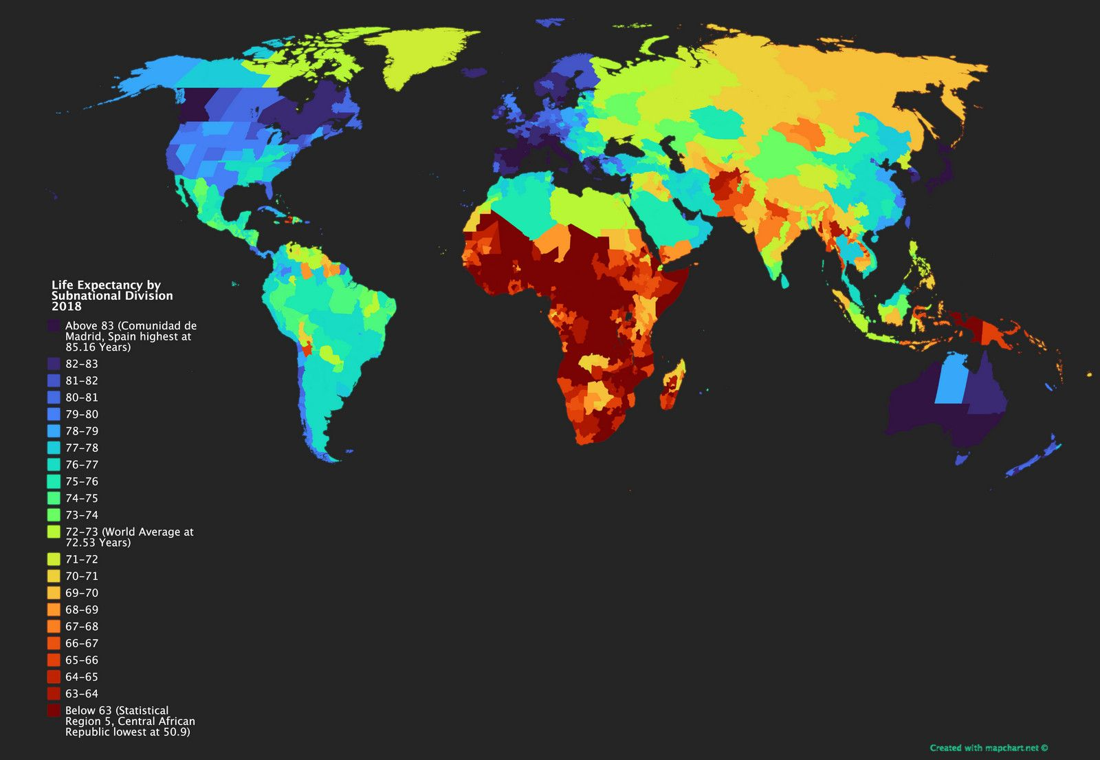 Life Expectancy Of Subnational Divisions Vivid Maps History Subject Map History Painting