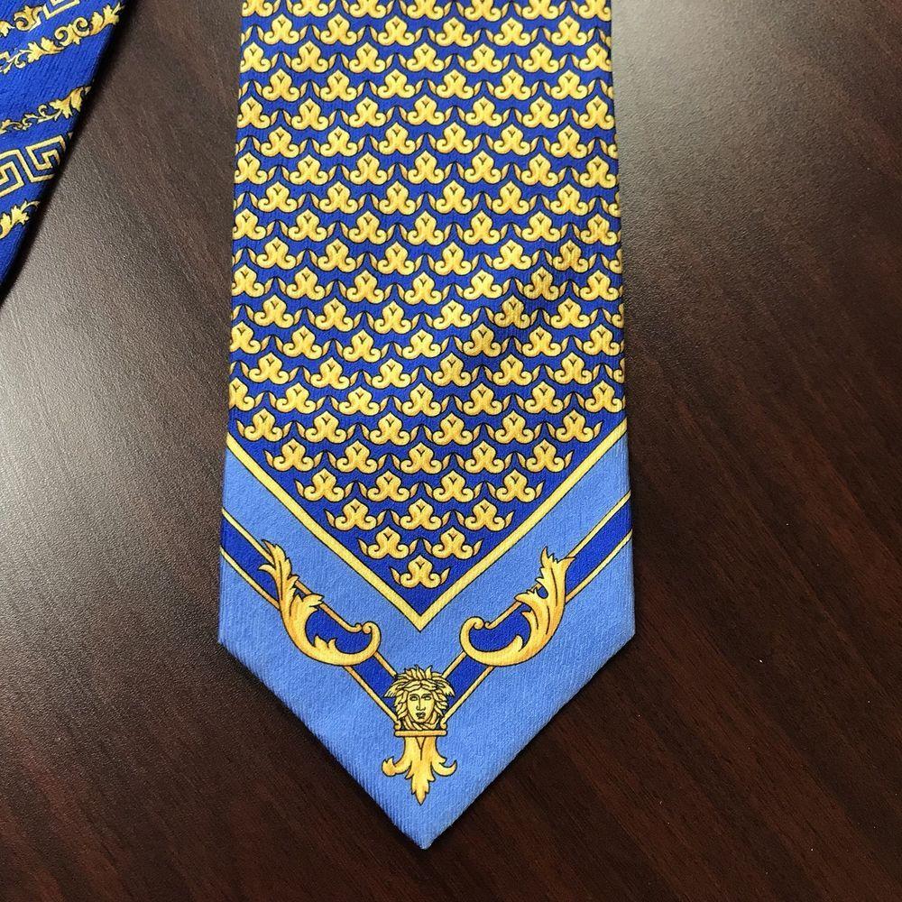 af1c61b0c100 GIANNI VERSACE Silk Tie. Blue Yellow Geometric Medusa Head Greek Key Pattern  #GianniVersace #