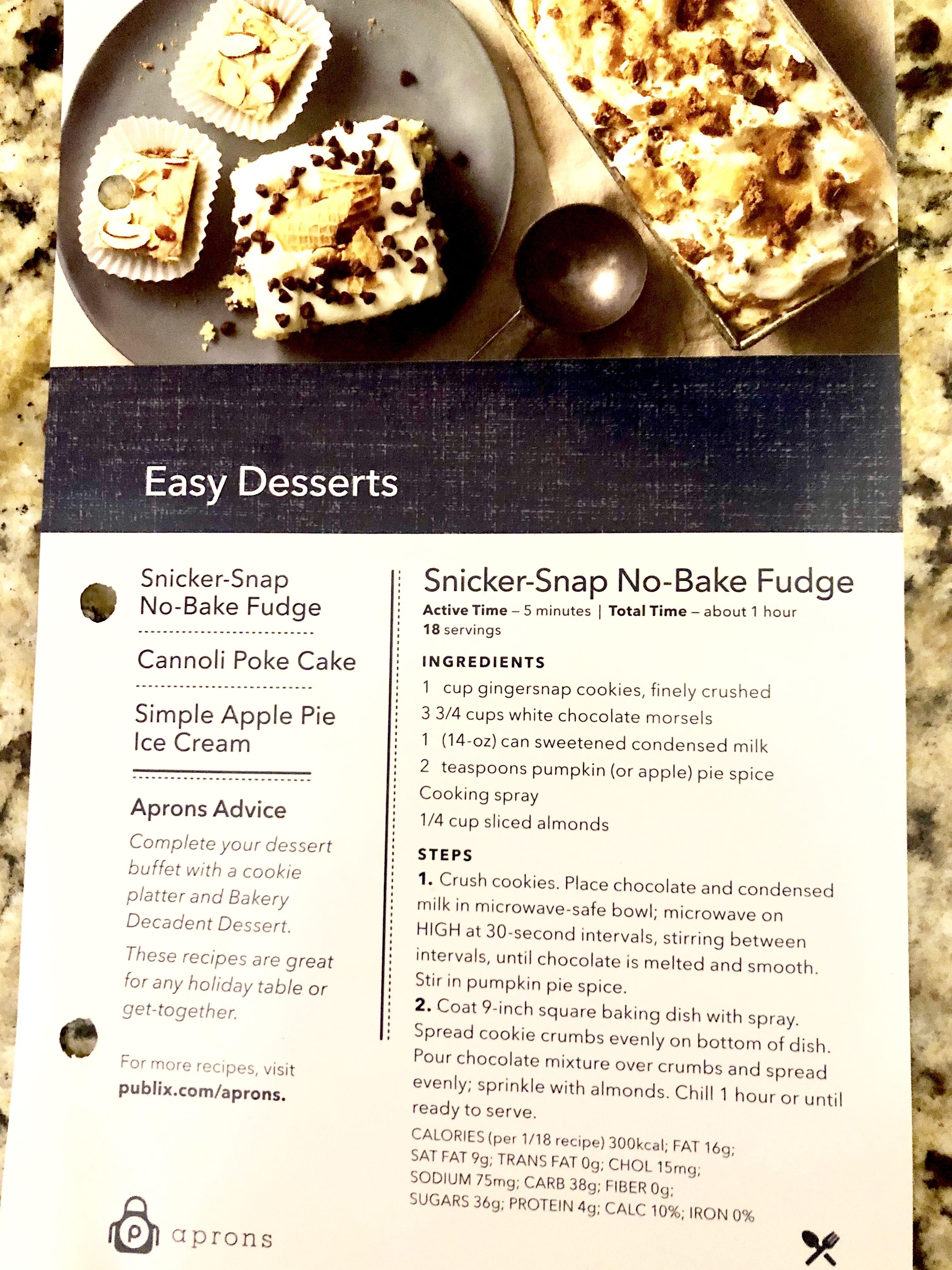 SnickerSnap NoBake Fudge (Publix Recipe) No bake fudge