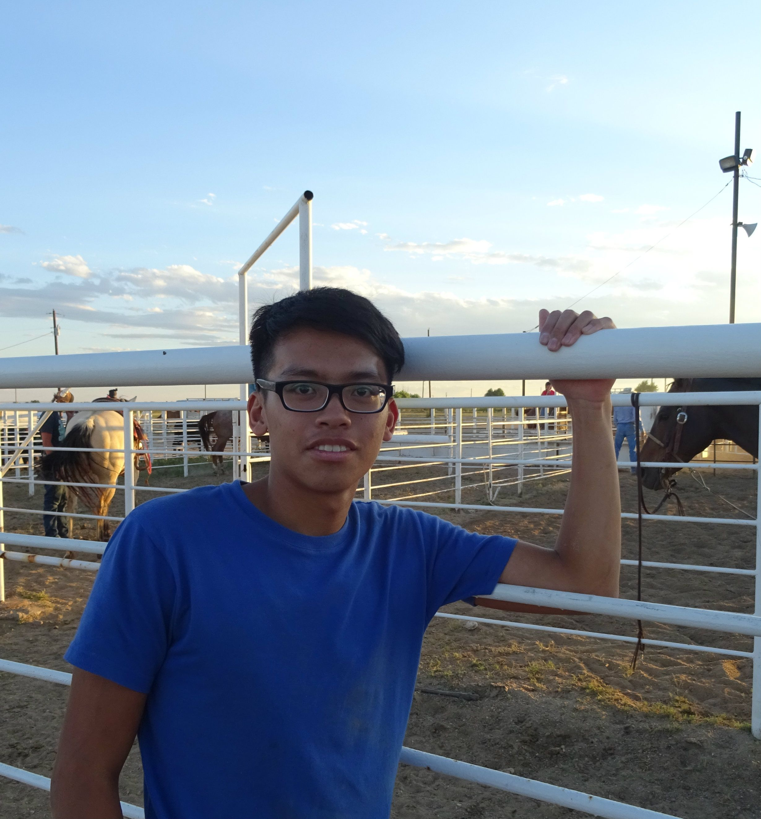Ethan ( Korea ) went to watch cowboys at the fairgrounds on his time off.