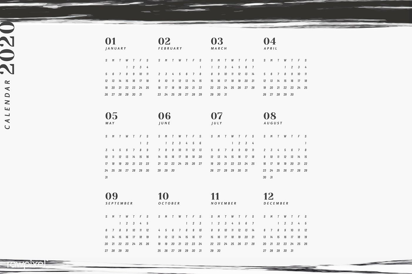 Download Premium Vector Of Black And White Marble Calendar For