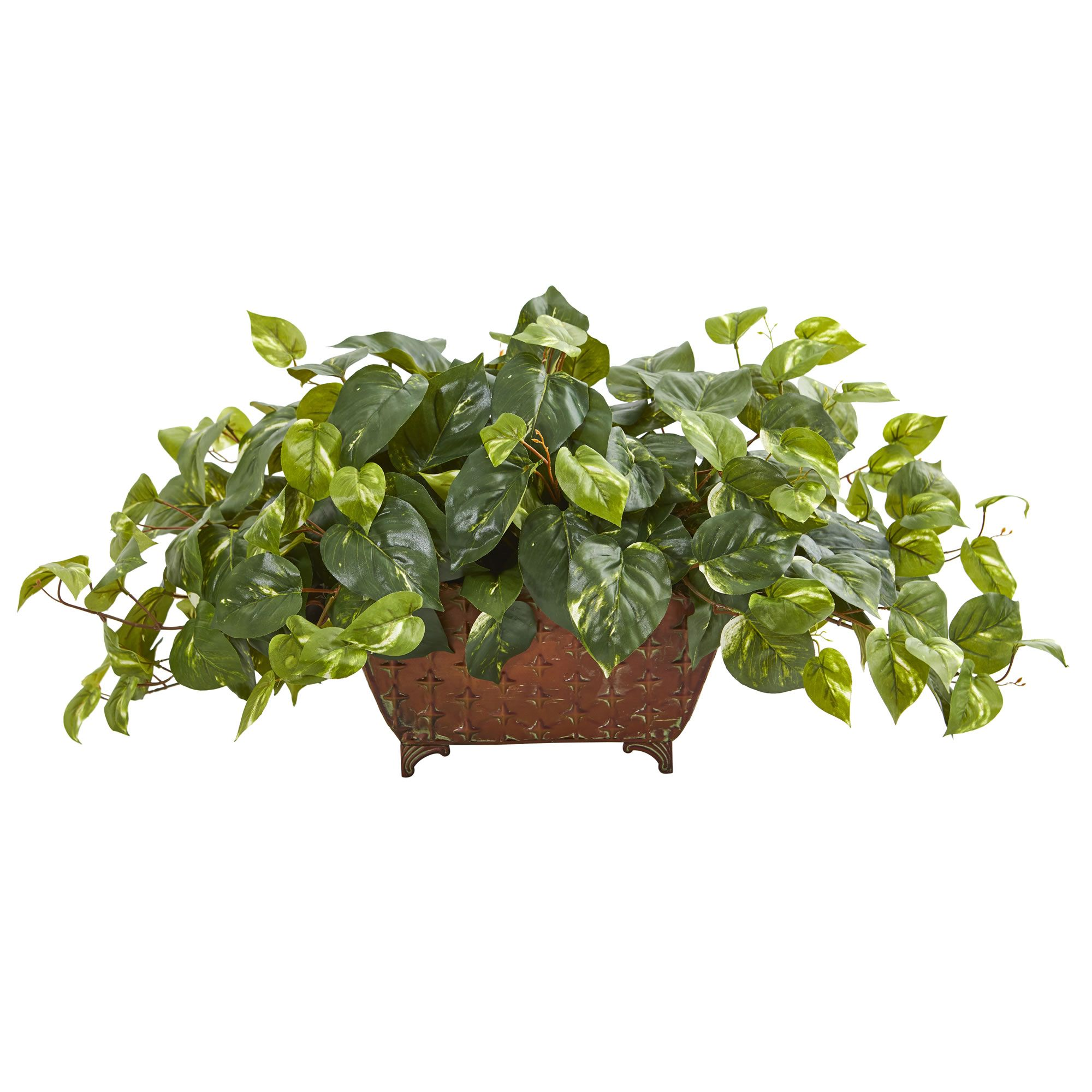 Pothos Artificial Plant in Metal Planter -   19 plants DIY fausse ideas