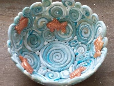 Polymer Clay Coil Bowl with Tiny Goldfish