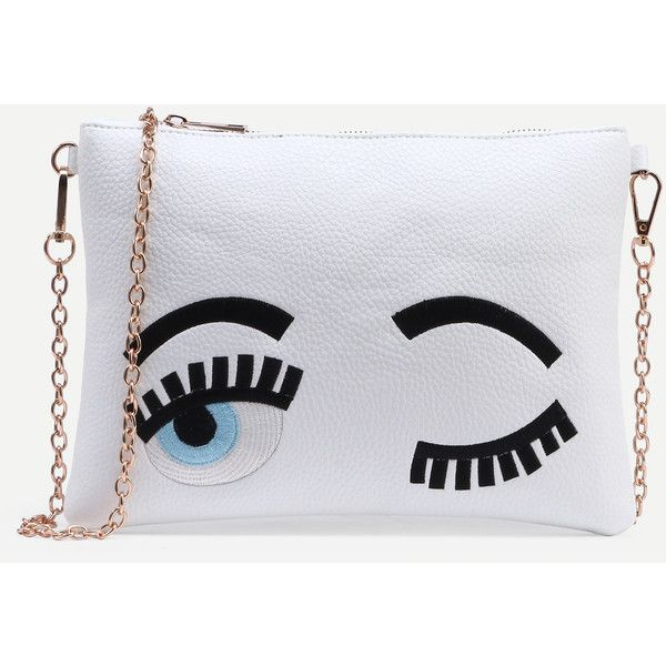 SheIn(sheinside) White Wink Eye Embroidered Clutch With Chain (€15) ❤ liked on Polyvore featuring bags, handbags, clutches, embroidered purse, pu handbag, chain purse, white clutches and white purse