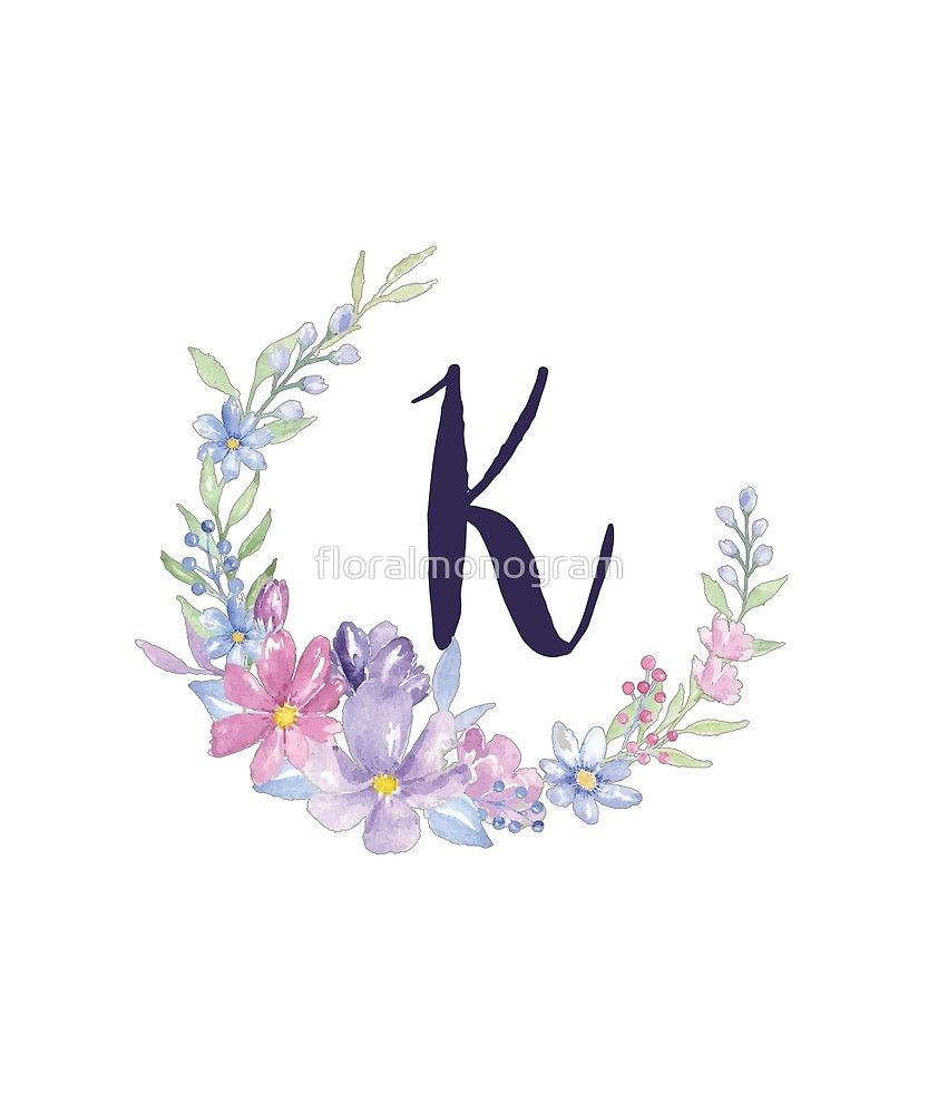 Monogram K Pastel Watercolor Flowers Sticker By Floralmonogram Watercolor Flowers Alphabet Wallpaper Pastel Watercolor