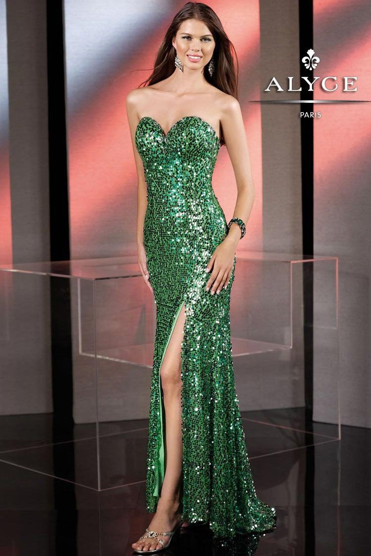 SPARKLY Green Apple Sequin Strapless Dress with a Sweetheart Neckline and a  Hi Slit - Prom Dresses - Pageant Gowns - Formal Gown - Alyce B Dazzle 35548  ... 32193d3228ae