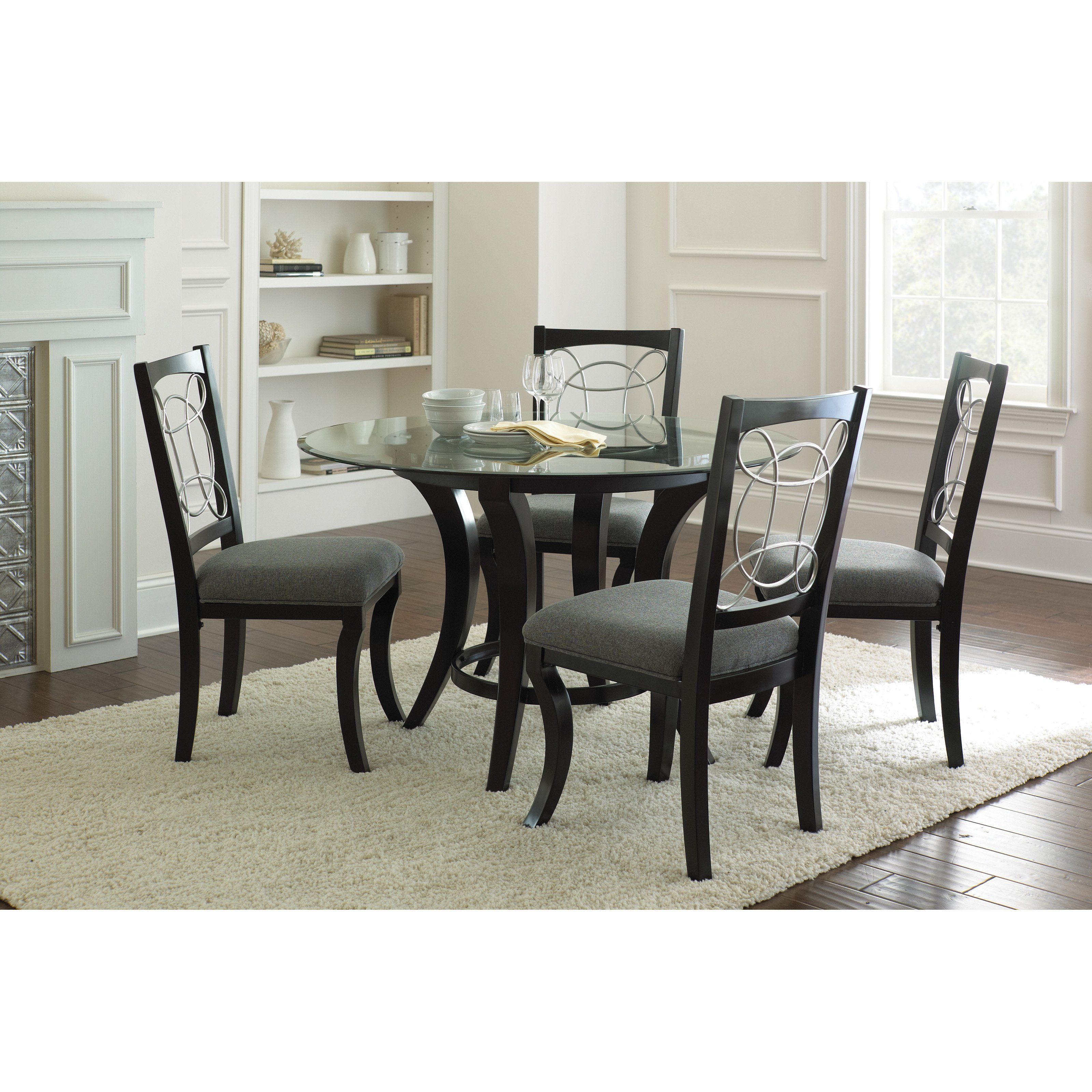 Steve Silver Cayman 5 Piece Glass Top Dining Set   Black | From  Hayneedle.com
