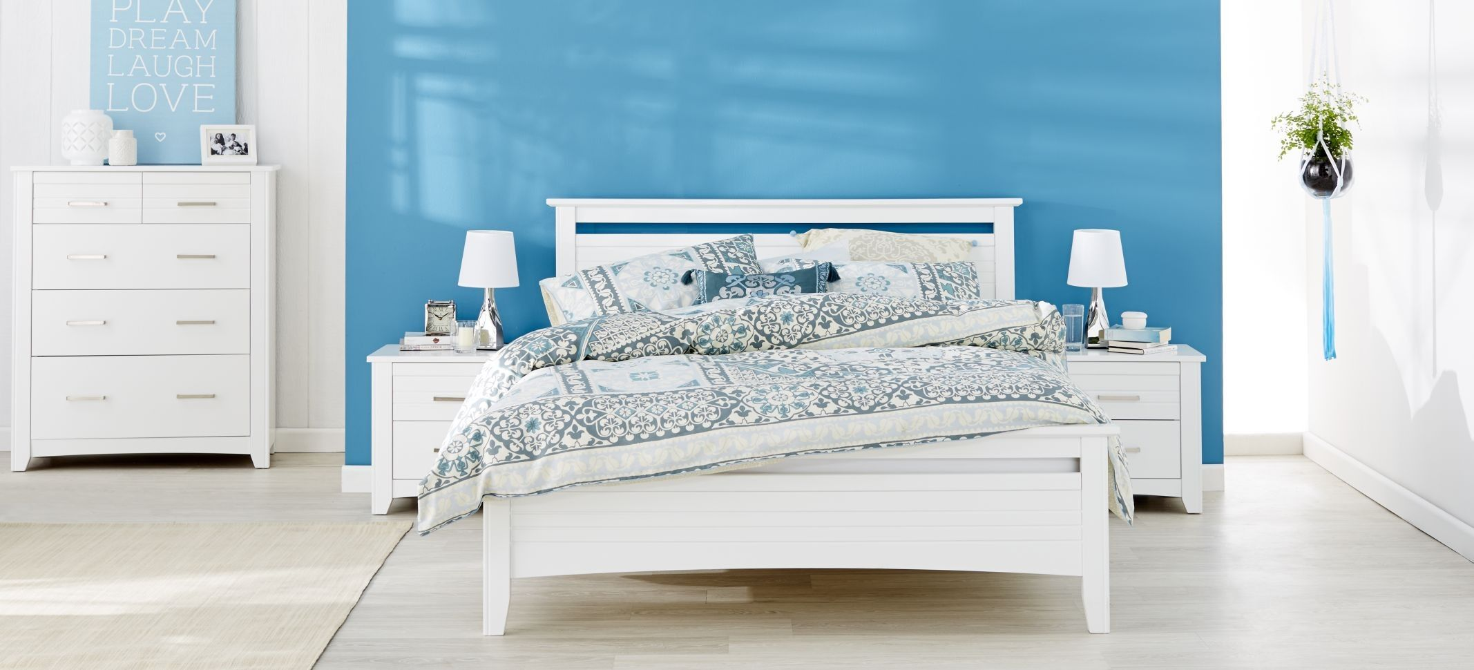 Forty Winks Kriss Clean White Wooden Bedroom Furniture Suite With Blue And Patterned Linen