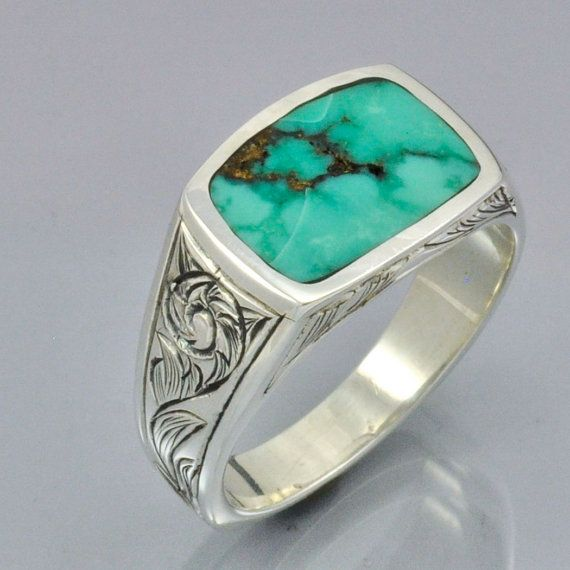 Hand Engraved Silver Ring with Turquoise Inlay Stone