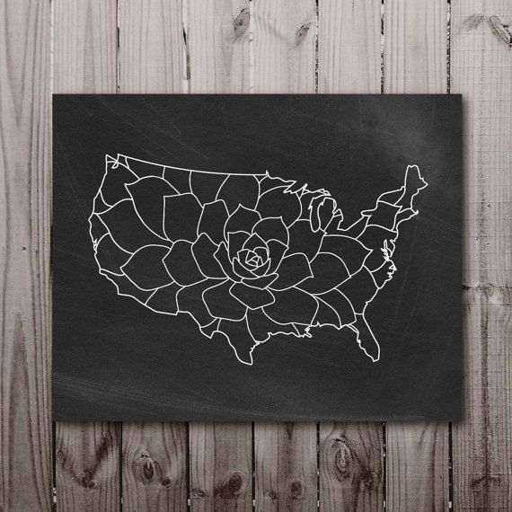 Usa States Map Chalkboard Floral Download United States Wall Art Kitchen Decor Poster Sign Printable Digital Print Pdf Instant Download Jpg