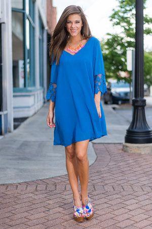 All The Crochet Down Dress, Royal Blue $43.00