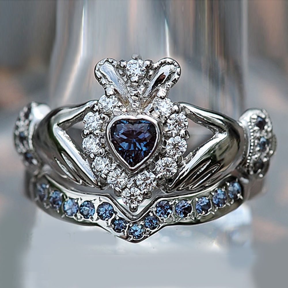 claddagh wedding ring set shape sapphire and d vvs1 accents 10k white gold 2972
