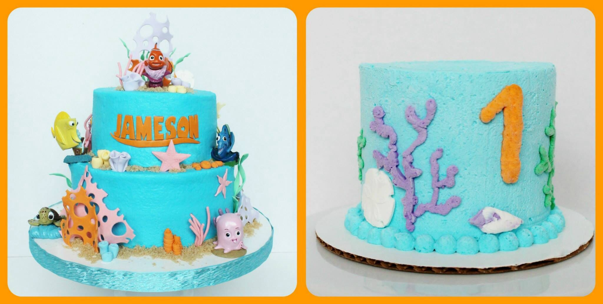 Nemo theme cake and sugarfree smash cake with whipped cream
