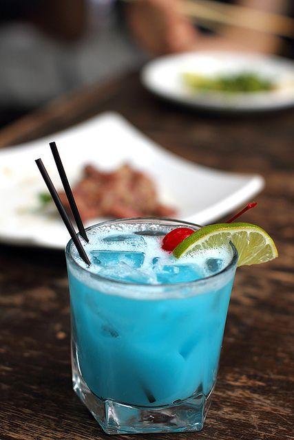 Happy Colada. :) Blue Curacao, Coconut Rum,  Pineapple Juice.